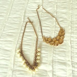 J crew pearl accent necklace & forever 21 gold bib